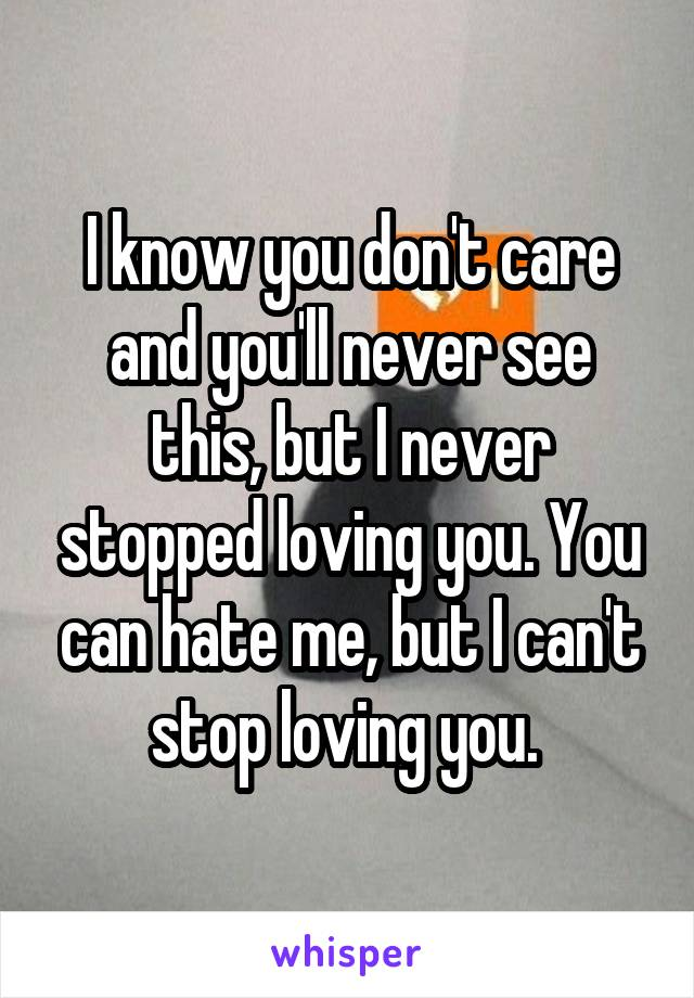 I know you don't care and you'll never see this, but I never stopped loving you. You can hate me, but I can't stop loving you.