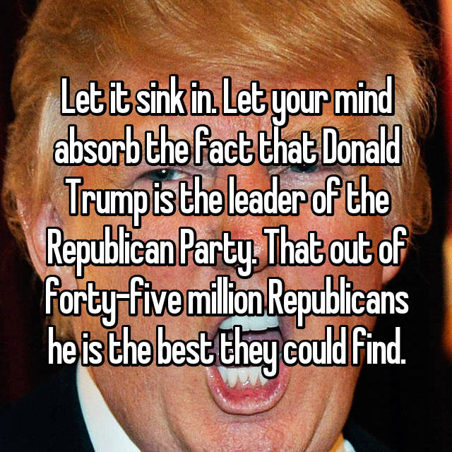 Let it sink in. Let your mind absorb the fact that Donald Trump is the leader of the Republican Party. That out of forty-five million Republicans he is the best they could find.