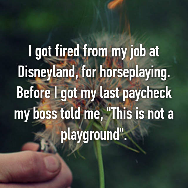 "I got fired from my job at Disneyland, for horseplaying. Before I got my last paycheck my boss told me, ""This is not a playground""."