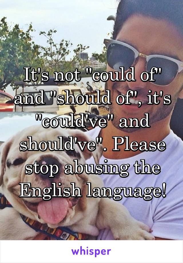 """It's not """"could of"""" and """"should of"""", it's """"could've"""" and should've"""". Please stop abusing the English language!"""