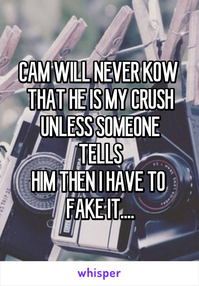 CAM WILL NEVER KOW  THAT HE IS MY CRUSH UNLESS SOMEONE TELLS HIM THEN I HAVE TO  FAKE IT....