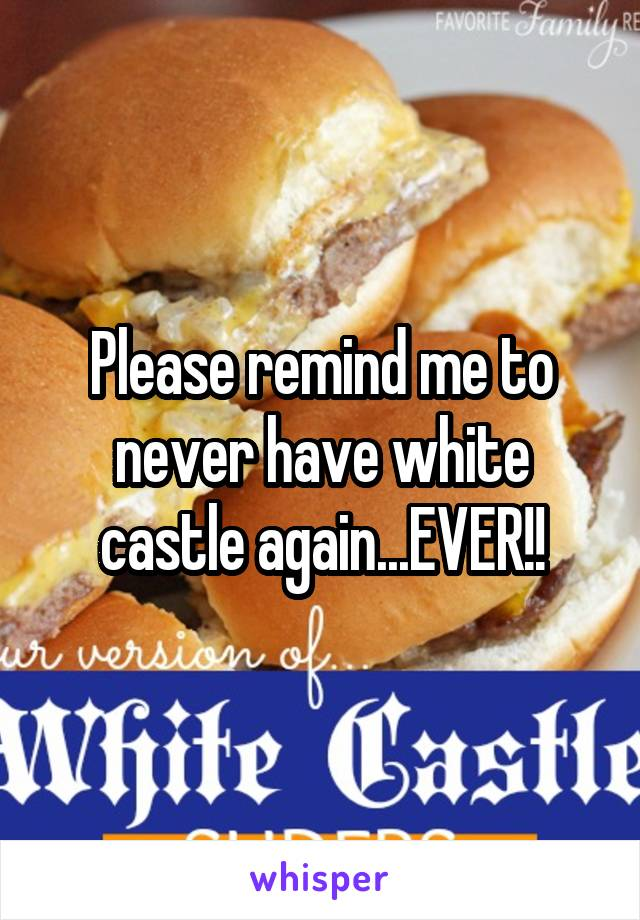 Please remind me to never have white castle again...EVER!!