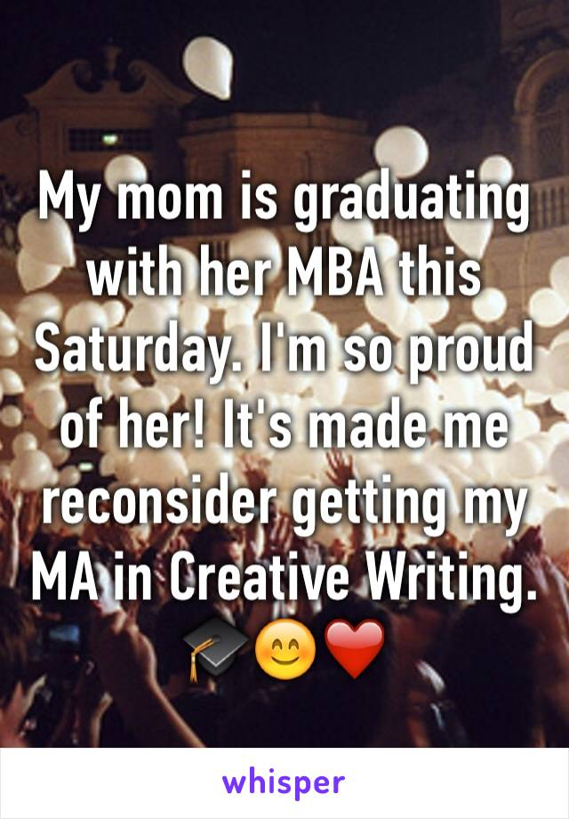 My mom is graduating with her MBA this Saturday. I'm so proud of her! It's made me reconsider getting my MA in Creative Writing. 🎓😊❤️