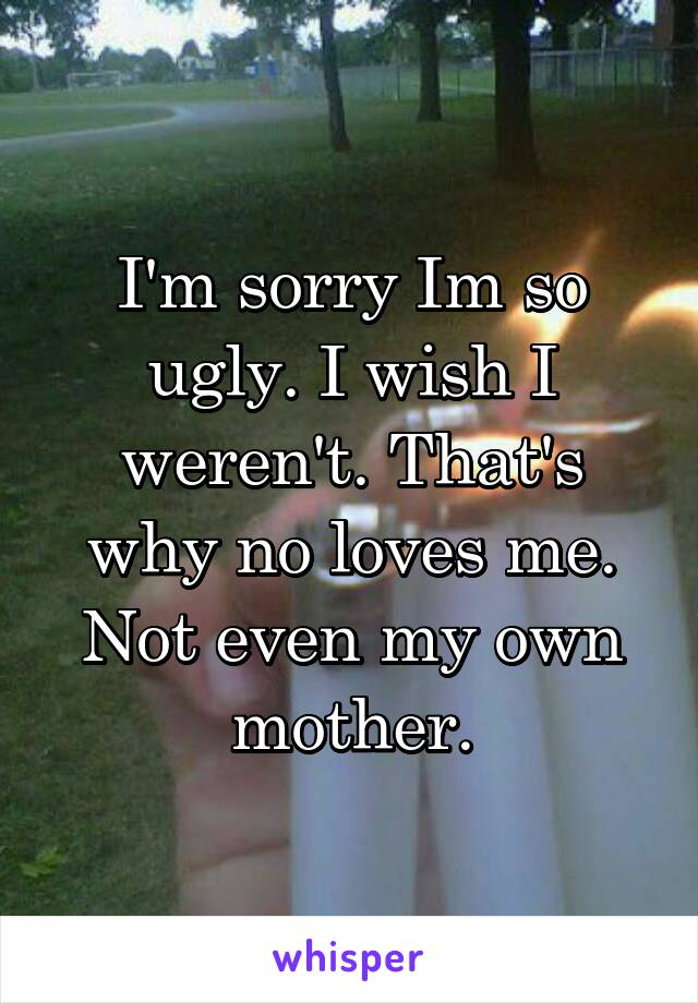 I'm sorry Im so ugly. I wish I weren't. That's why no loves me. Not even my own mother.