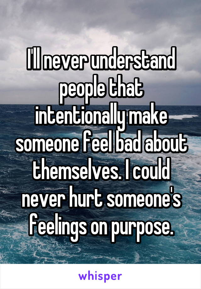 I'll never understand people that intentionally make someone feel bad about themselves. I could never hurt someone's feelings on purpose.