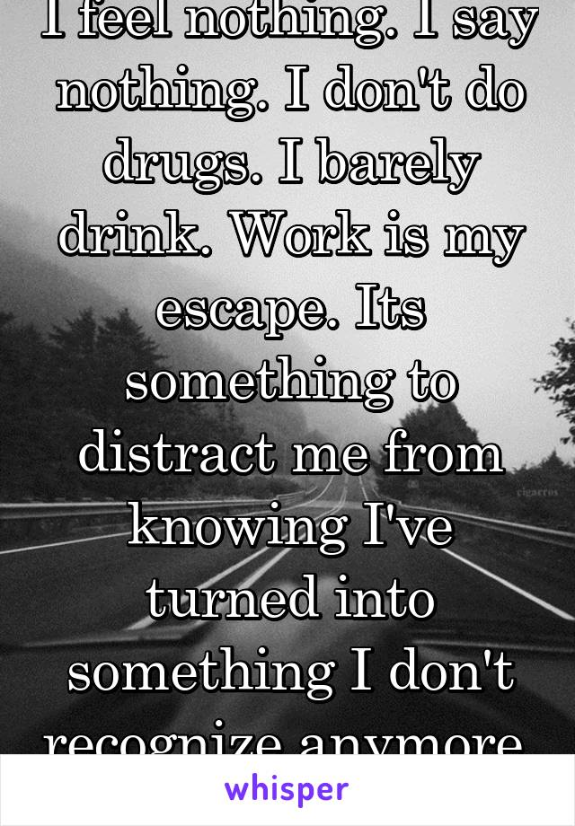 I feel nothing. I say nothing. I don't do drugs. I barely drink. Work is my escape. Its something to distract me from knowing I've turned into something I don't recognize anymore.