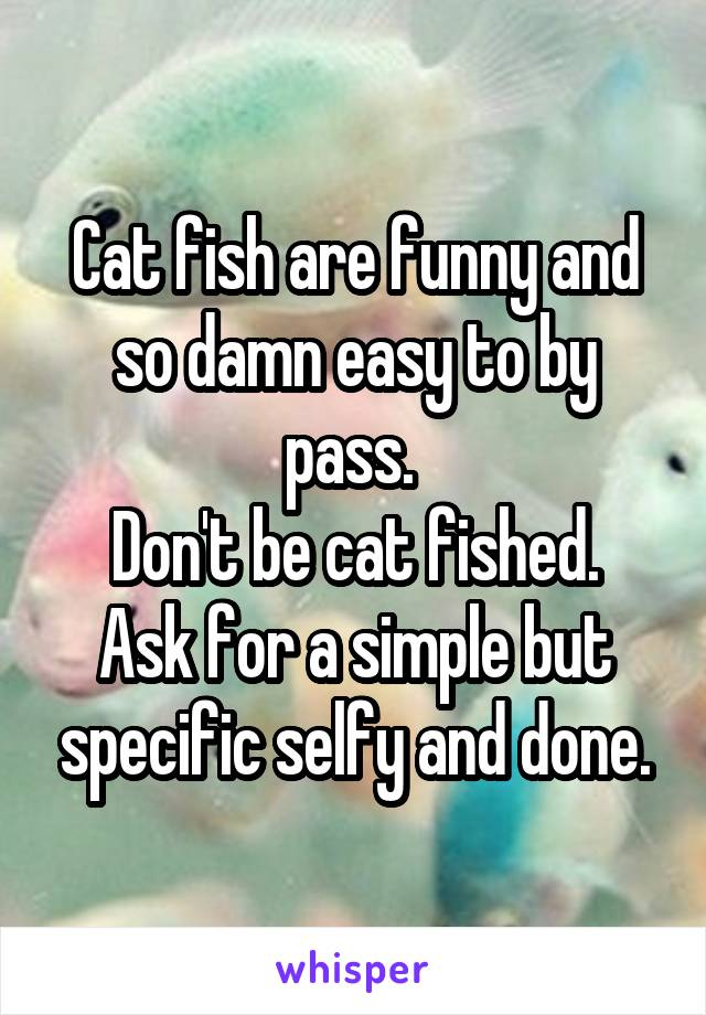 Cat fish are funny and so damn easy to by pass.  Don't be cat fished. Ask for a simple but specific selfy and done.