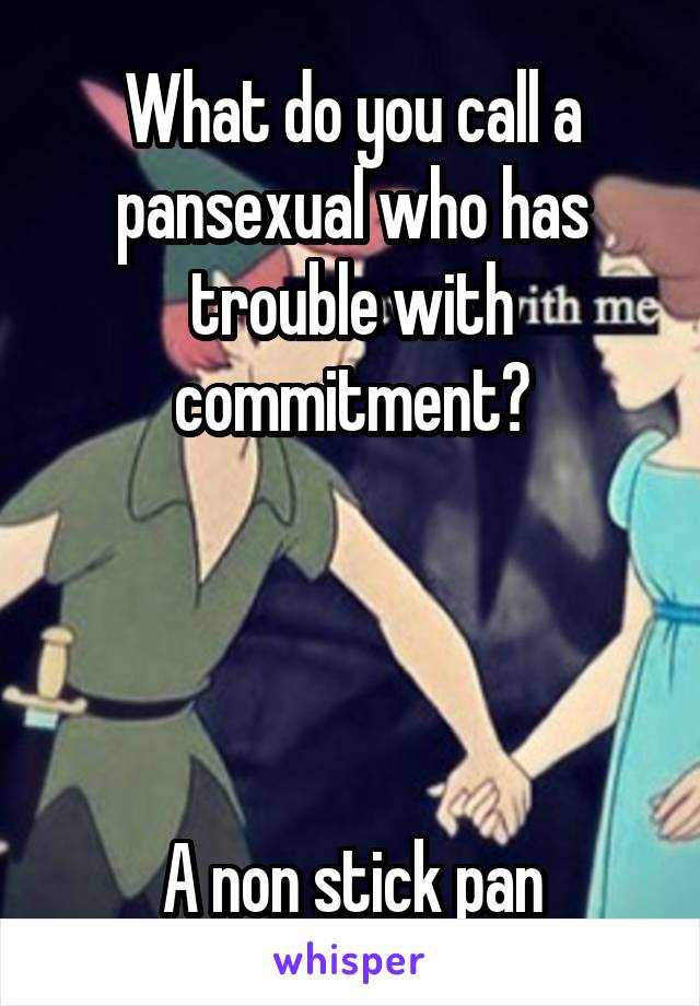 What do you call a pansexual who has trouble with commitment?     A non stick pan