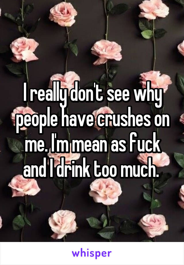 I really don't see why people have crushes on me. I'm mean as fuck and I drink too much.