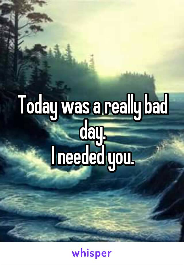Today was a really bad day. I needed you.