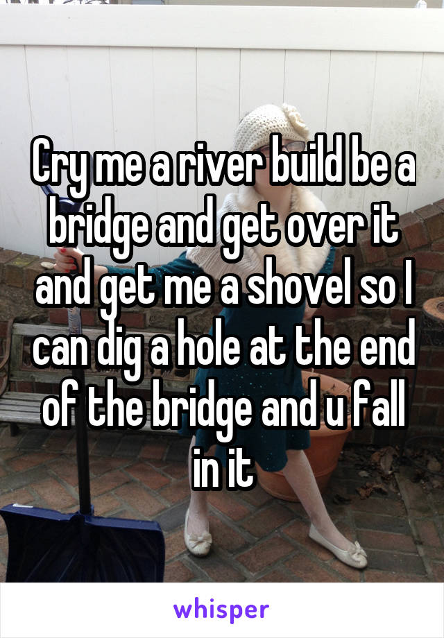 Cry me a river build be a bridge and get over it and get me a shovel so I can dig a hole at the end of the bridge and u fall in it