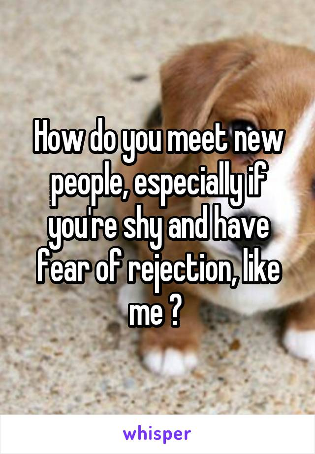 How do you meet new people, especially if you're shy and have fear of rejection, like me ?
