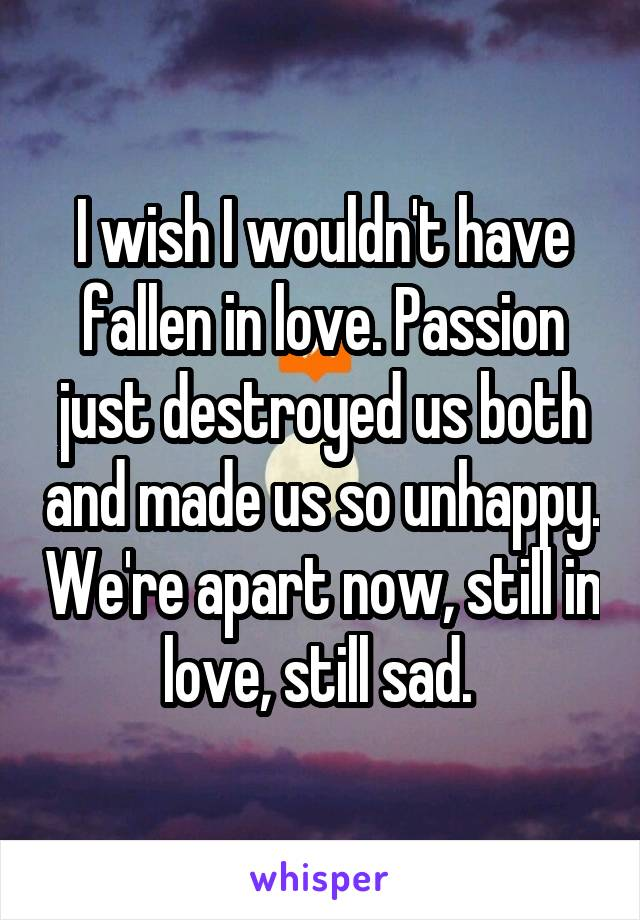 I wish I wouldn't have fallen in love. Passion just destroyed us both and made us so unhappy. We're apart now, still in love, still sad.