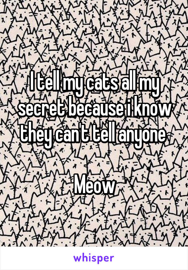I tell my cats all my secret because i know they can't tell anyone   Meow