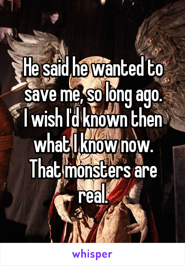He said he wanted to save me, so long ago. I wish I'd known then what I know now. That monsters are real.