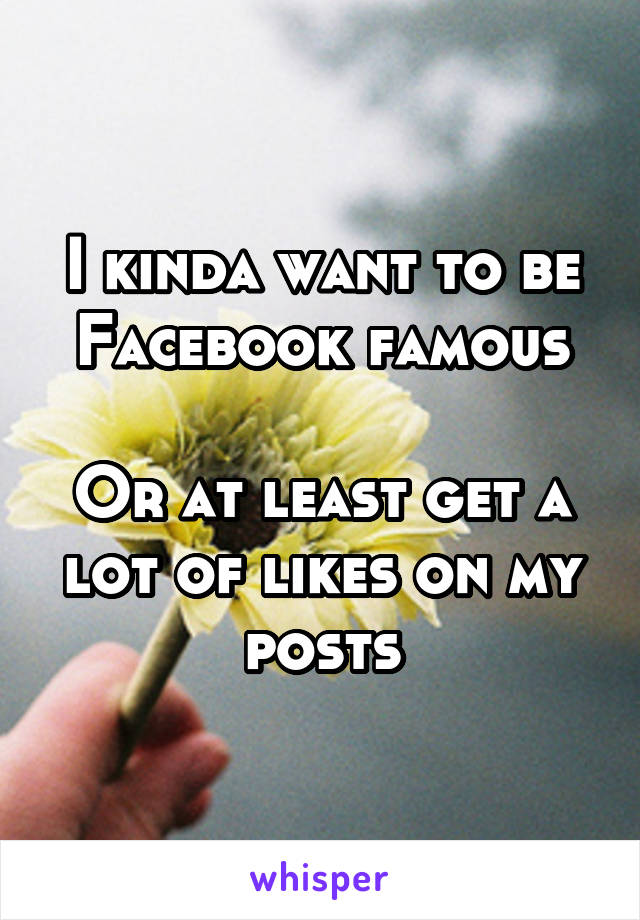 I kinda want to be Facebook famous  Or at least get a lot of likes on my posts