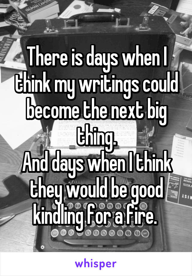 There is days when I think my writings could become the next big thing. And days when I think they would be good kindling for a fire.