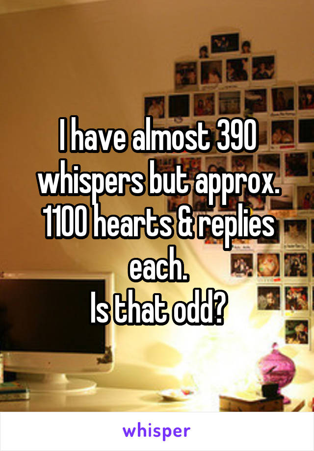 I have almost 390 whispers but approx. 1100 hearts & replies each. Is that odd?