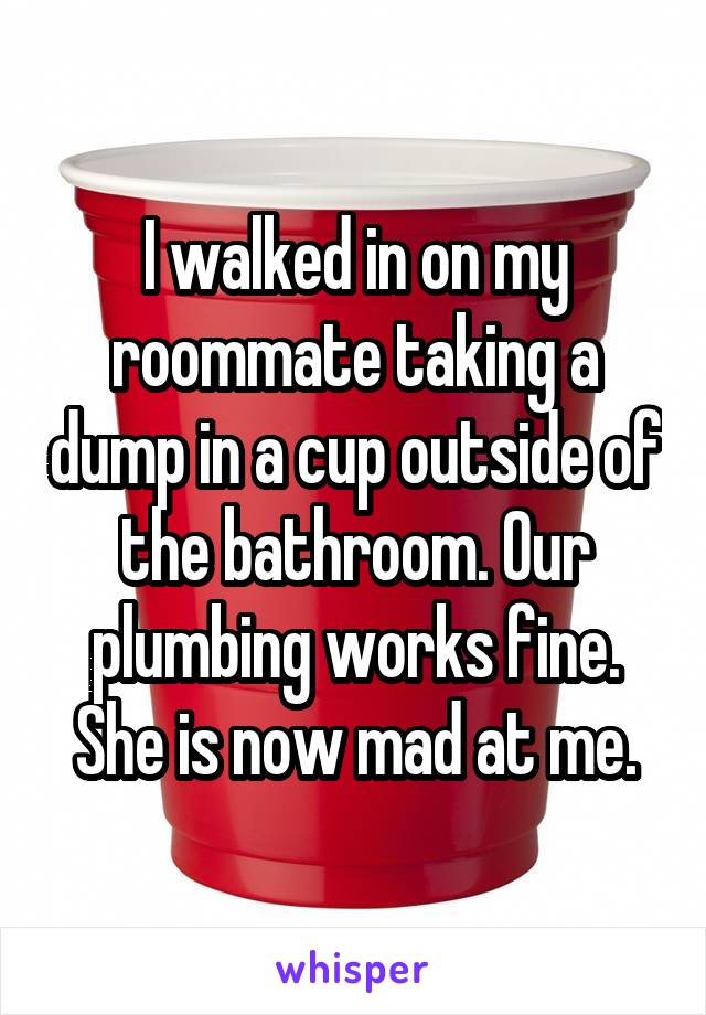 I walked in on my roommate taking a dump in a cup outside of the bathroom. Our plumbing works fine. She is now mad at me.