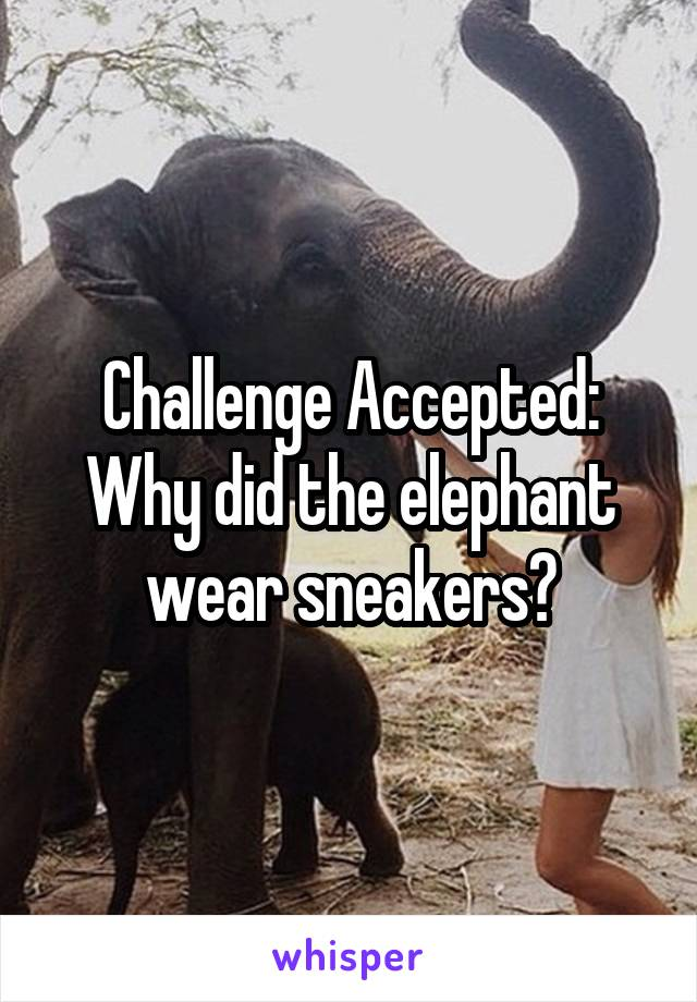 challenge accepted why did the elephant wear sneakers