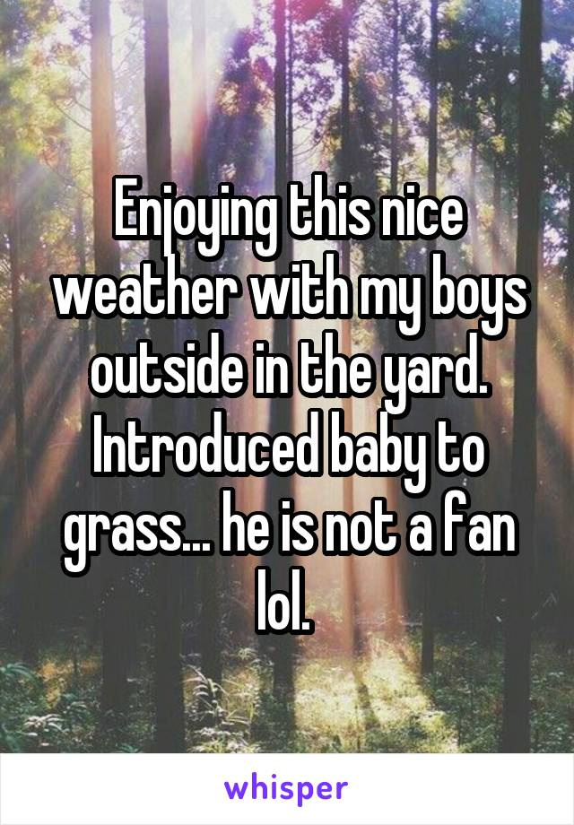 Enjoying this nice weather with my boys outside in the yard. Introduced baby to grass... he is not a fan lol.