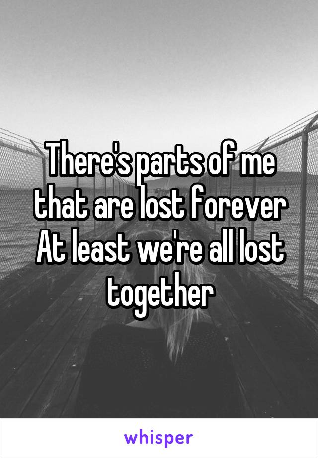 There's parts of me that are lost forever At least we're all lost together
