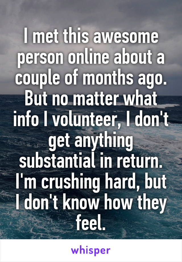 I met this awesome person online about a couple of months ago. But no matter what info I volunteer, I don't get anything substantial in return. I'm crushing hard, but I don't know how they feel.