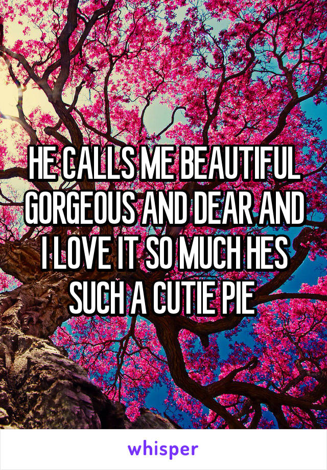HE CALLS ME BEAUTIFUL GORGEOUS AND DEAR AND I LOVE IT SO MUCH HES SUCH A CUTIE PIE