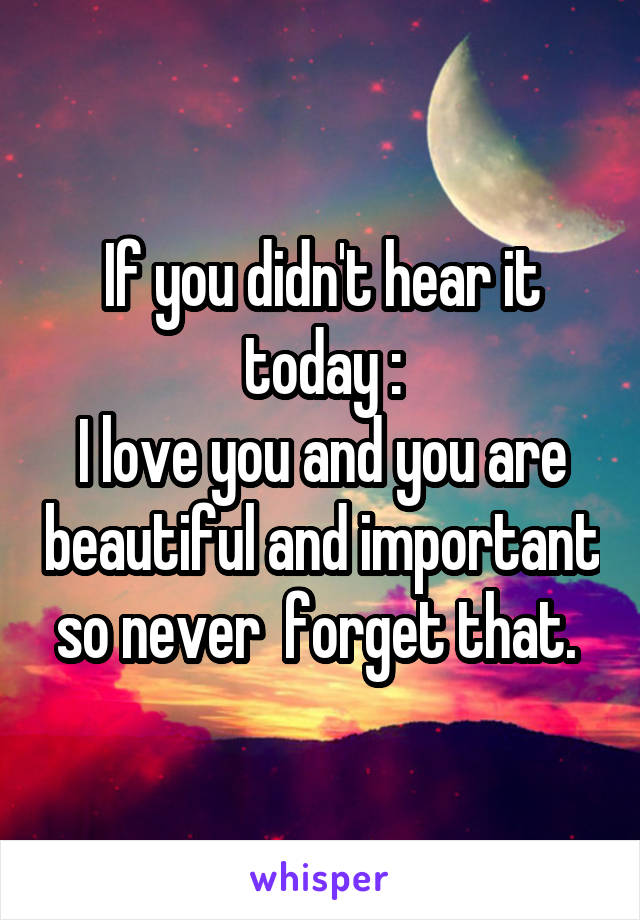 If you didn't hear it today : I love you and you are beautiful and important so never  forget that.