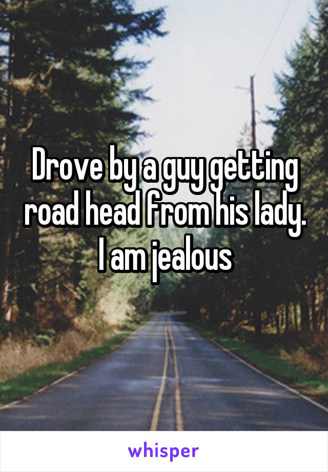 Drove by a guy getting road head from his lady. I am jealous