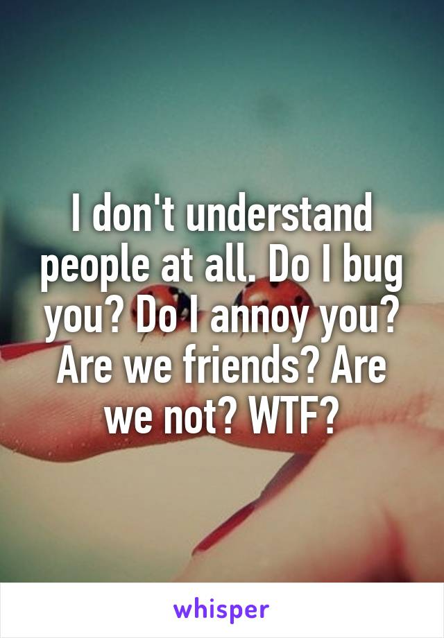 I don't understand people at all. Do I bug you? Do I annoy you? Are we friends? Are we not? WTF?