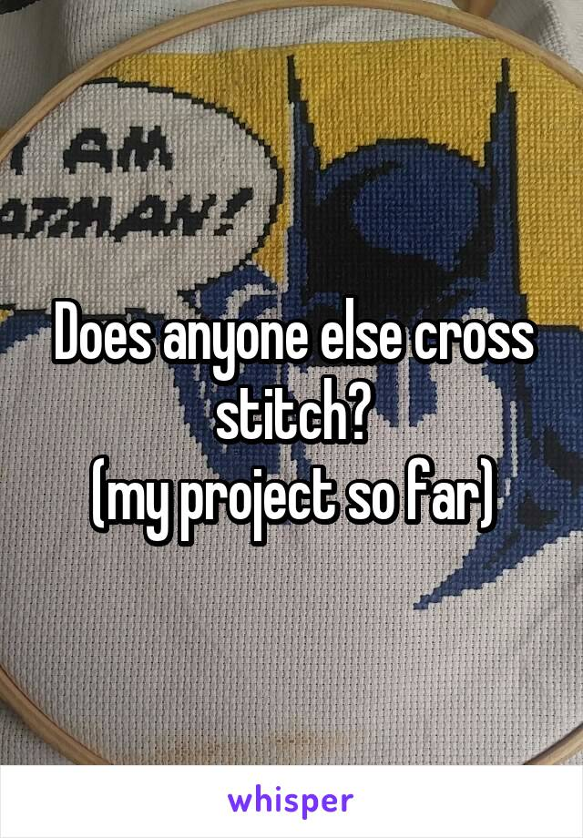 Does anyone else cross stitch? (my project so far)