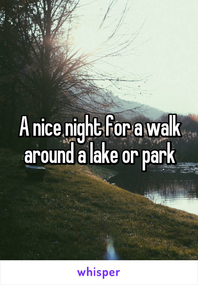 A nice night for a walk around a lake or park