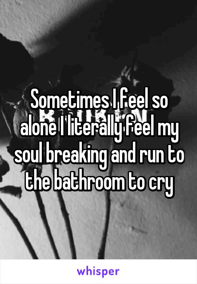 Sometimes I feel so alone I literally feel my soul breaking and run to the bathroom to cry