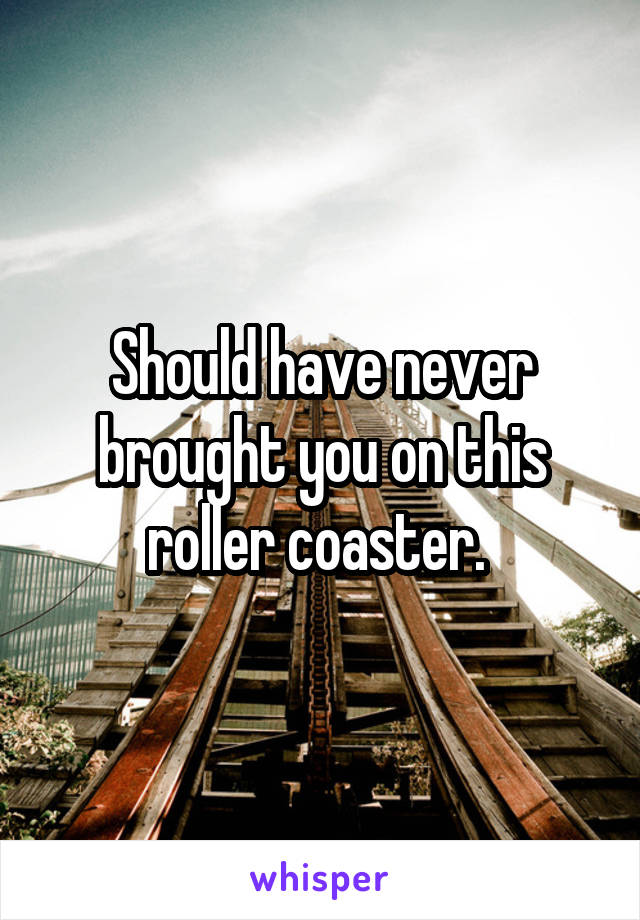 Should have never brought you on this roller coaster.