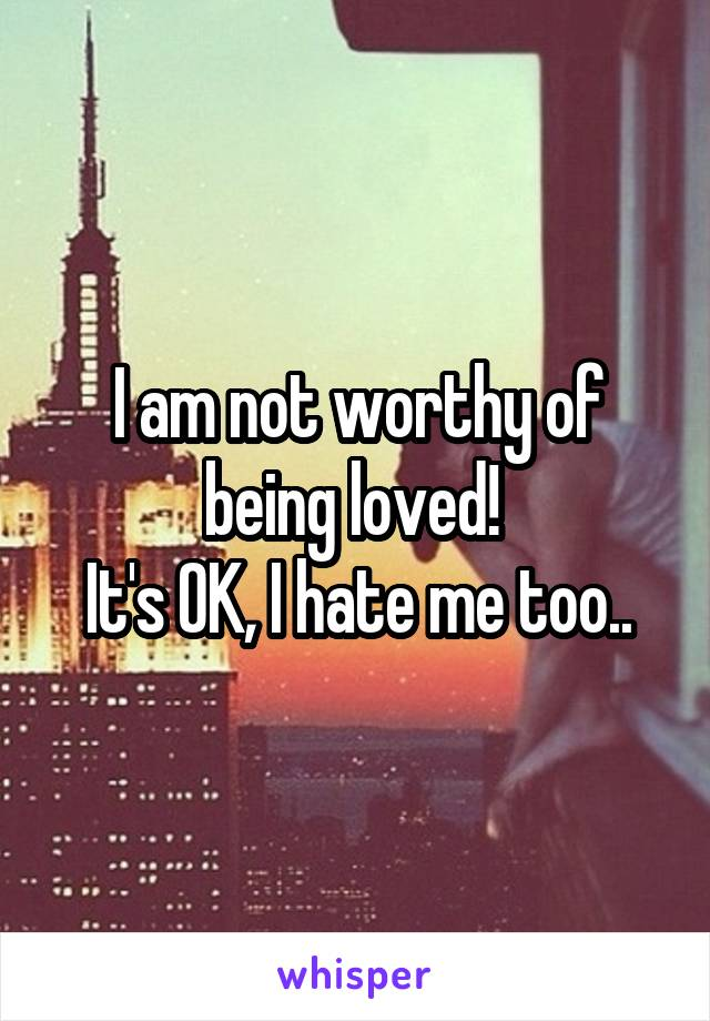 I am not worthy of being loved!  It's OK, I hate me too..