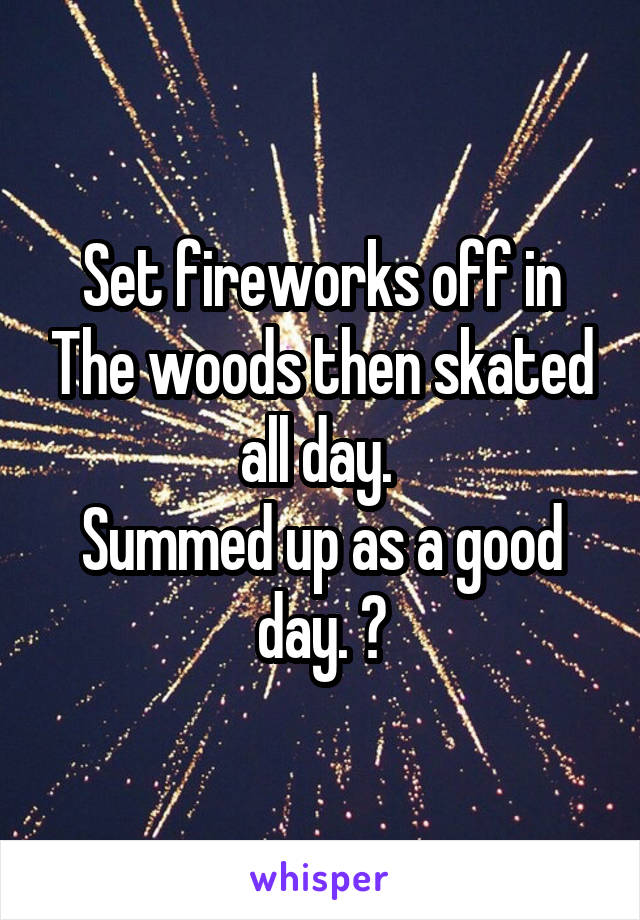 Set fireworks off in The woods then skated all day.  Summed up as a good day. 😌