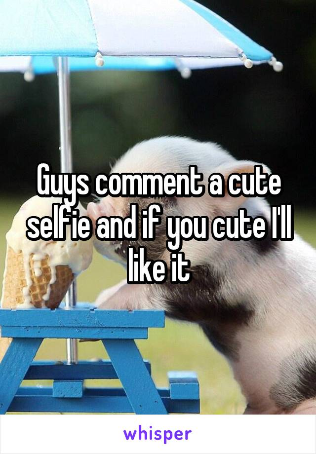 Guys comment a cute selfie and if you cute I'll like it