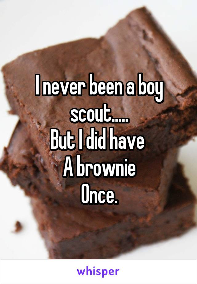 I never been a boy scout..... But I did have  A brownie Once.