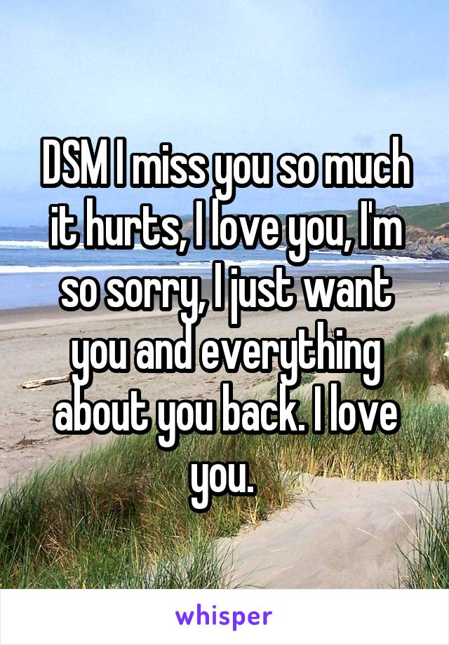 DSM I miss you so much it hurts, I love you, I'm so sorry, I just want you and everything about you back. I love you.