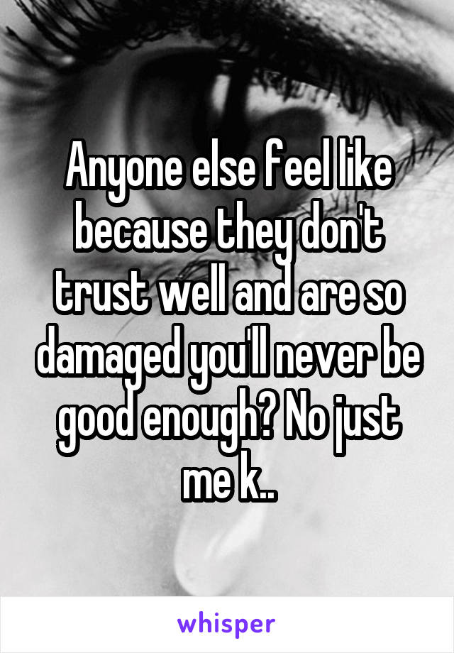 Anyone else feel like because they don't trust well and are so damaged you'll never be good enough? No just me k..