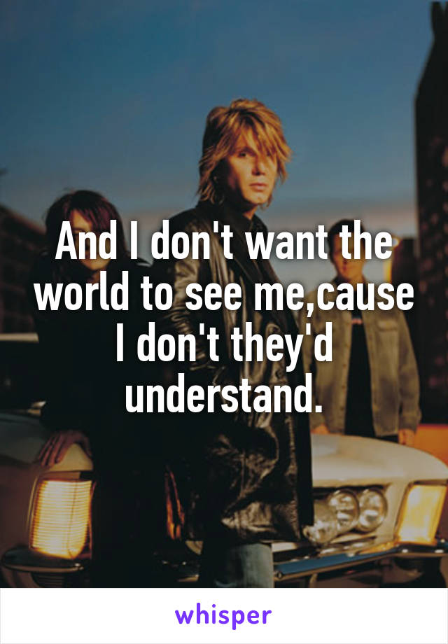 And I don't want the world to see me,cause I don't they'd understand.