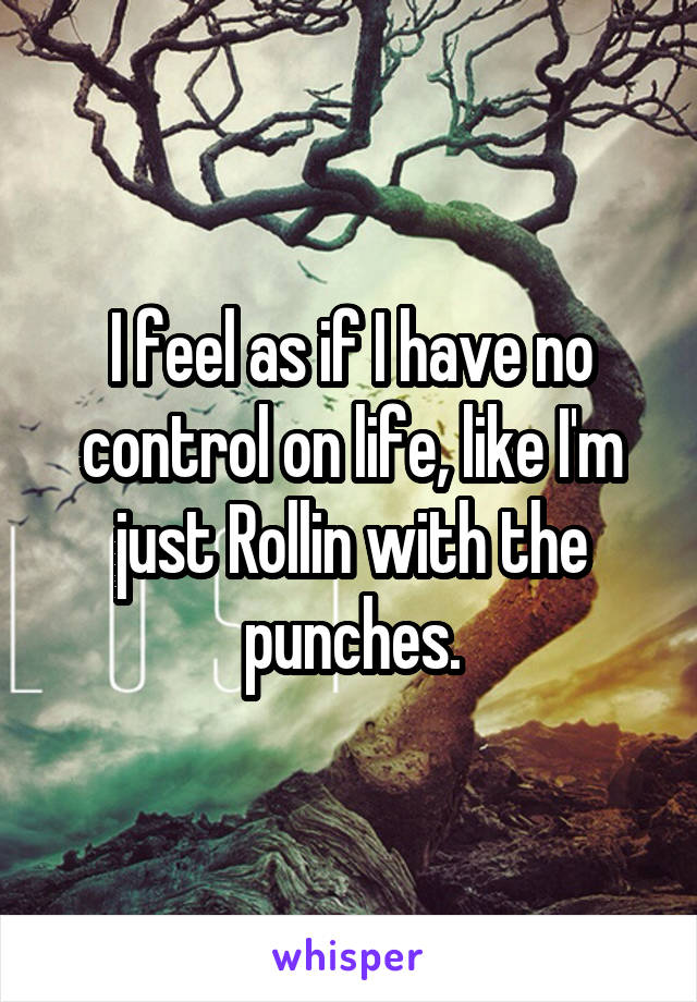 I feel as if I have no control on life, like I'm just Rollin with the punches.
