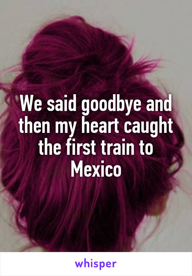 We said goodbye and then my heart caught the first train to Mexico