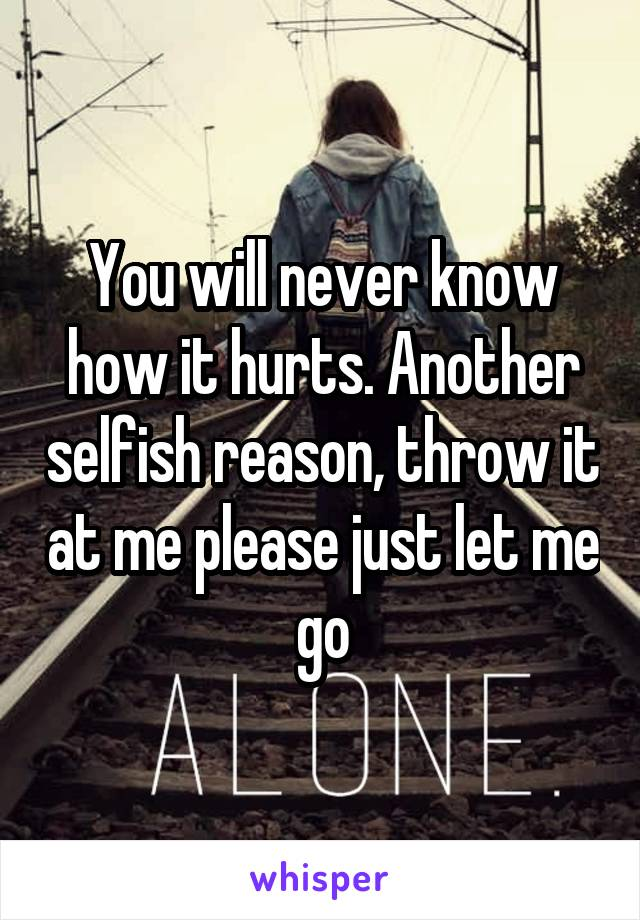 You will never know how it hurts. Another selfish reason, throw it at me please just let me go