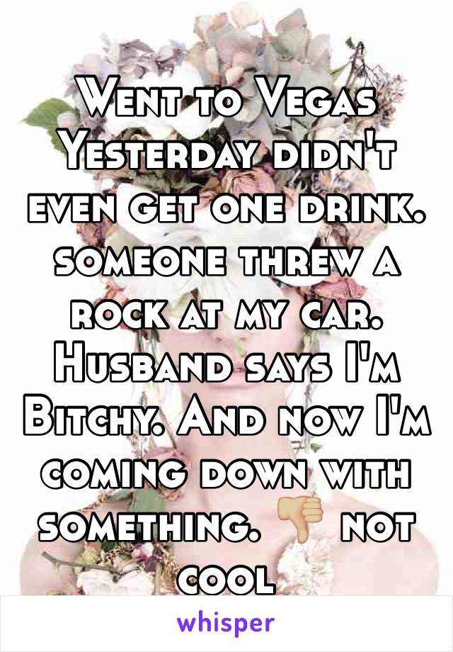 Went to Vegas Yesterday didn't even get one drink. someone threw a rock at my car. Husband says I'm Bitchy. And now I'm coming down with something. 👎🏼 not cool