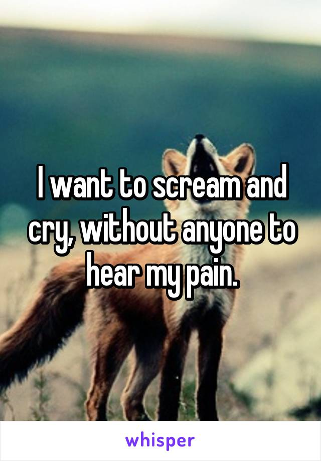 I want to scream and cry, without anyone to hear my pain.