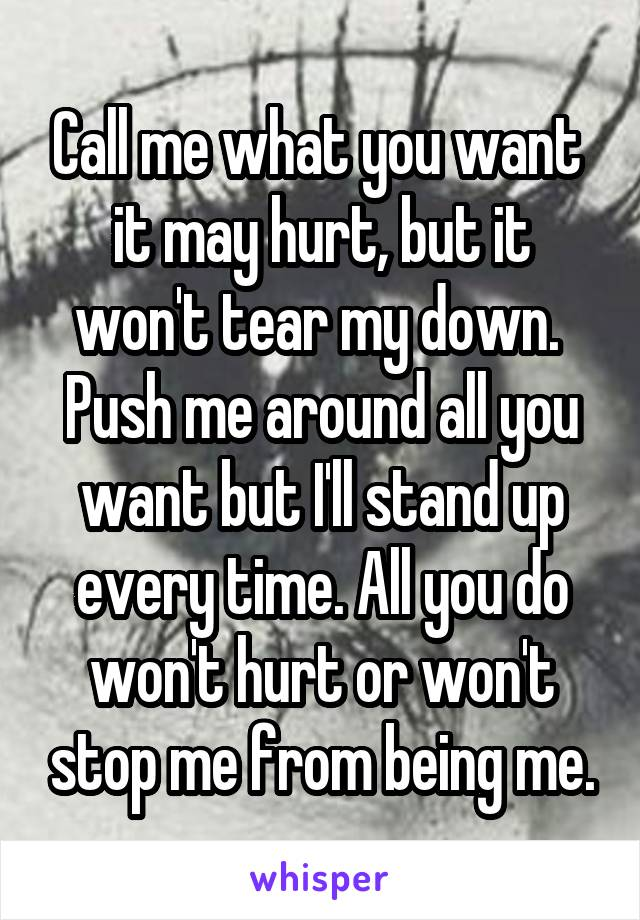 Call me what you want  it may hurt, but it won't tear my down.  Push me around all you want but I'll stand up every time. All you do won't hurt or won't stop me from being me.