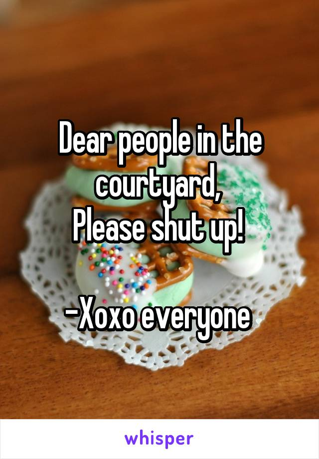 Dear people in the courtyard,  Please shut up!   -Xoxo everyone
