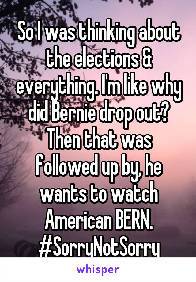 So I was thinking about the elections & everything. I'm like why did Bernie drop out? Then that was followed up by, he wants to watch American BERN. #SorryNotSorry